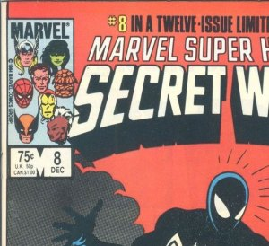 Secret Wars #8, interestingly, shows a 75 cent price for the U.S., but instead of 95 cents for Canada this one priced Canada at a full $1.00.