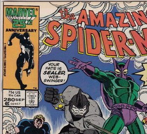 Newsstand edition copy of ASM #280: at this issue, both the U.S. and Canadian prices are printed on all newsstand copies.