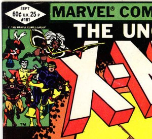 At issue #161 for The Uncanny X-Men, direct edition copies had 60 cents shown at the left, and U.K 25 pence shown at the right. There was not yet a different price-point for Canada (Canadians paid 60 cents just as U.S. readers did).