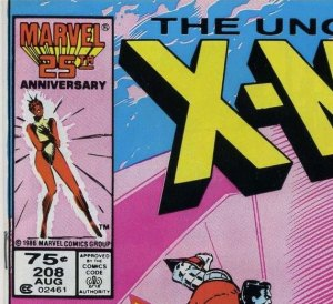 X-Men #208 U.S. newsstand edition (price had been increased to 75 cents from 60 at this point).