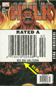 Hulk (2008) #1, $3.99 Newsstand Edition cover price variant