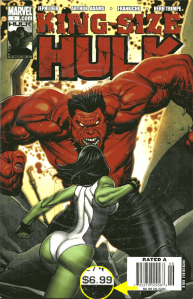 Newsstand edition copy of King-Size Hulk #1: $6.99 cover price variant.