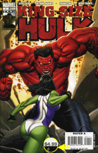 King-Size Hulk #1 direct edition copy, priced at $4.99.