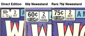 Direct edition vs. 60¢ newsstand vs. 75¢ newsstand.