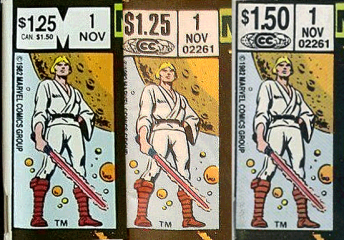 Three different versions of this Star Wars comic exist... And one of them (the one on the right) has a higher cover price and is drastically more rare!