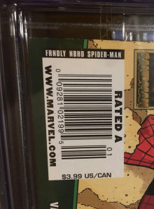 And here's a close-up on the UPC box where you can see that this issue is priced at $3.99 -- not the normal $2.99.
