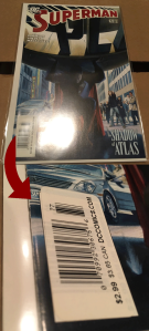 For Superman #677, newsstand copies have a sticker slapped over the UPC code box they were manufactured with.