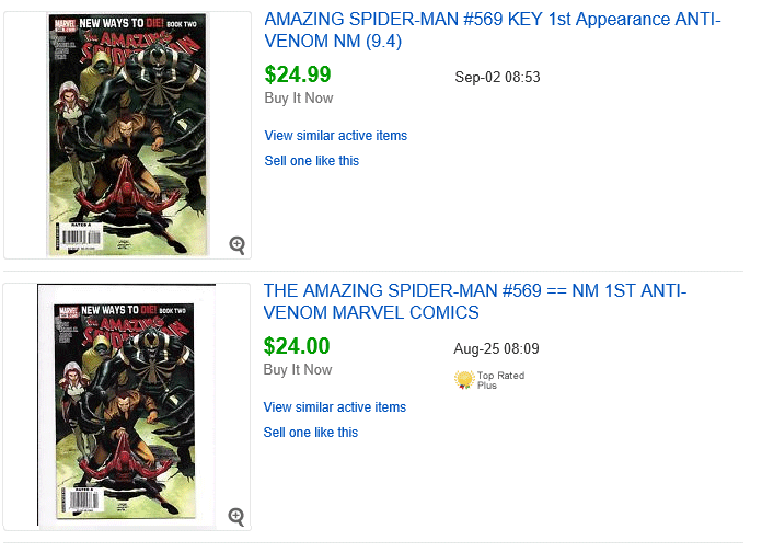 Example Amazing Spider-Man #569 Sales