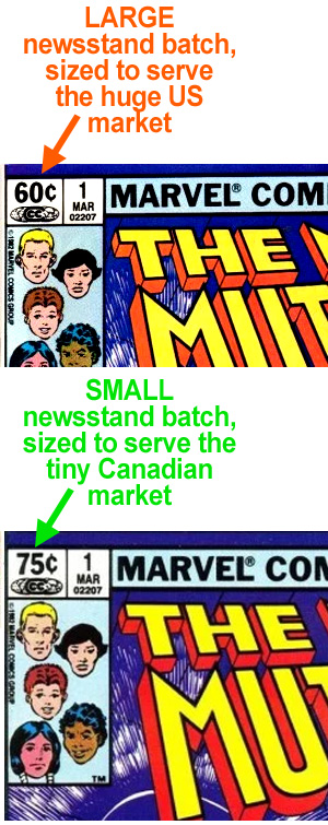 Example copies of New Mutants #1: the top copy is part of the large batch priced at 60 cents, sized to serve the newsstand portion of the US market. The bottom copy is part of the small batch priced at 75 cents, sized to serve the newsstand portion of the small Canadian market.