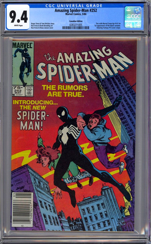 And here is a full slab example copy of the 75 cent Canadian Edition variant. The intended market for these was Canadian newsstands (75 cents instead of 60 to account for the currency exchange rate). Canada's population represented a little under 10% of the North American market for Marvel's English language comics at the time of publication, and we know from industry insiders that sometime around the middle of the 1980's -- 1985/1986 timeframe -- that direct edition sales began to surpass newsstand sales. At that 50/50 point, if we divide the Canadian market in half (half getting newsstand copies priced at 75 cents, the other half buying their comics in specialty comic shops and getting Direct Edition copies), then a good ballpark rarity estimate at time of distribution was 5% or 1-in-20 copies sold. Additional variables from there that play into the rarity percentage of surviving copies -- those showing up on the CGC census -- include the fact that newsstand comics are notorious for having a high destruction rate, the fact that the sell-through on newsstands was variable depending on issue-by-issue market demand, and the fate of newsstand returns was variable (often they were simply pulped/recycled, but, Marvel was free to make whatever decision they wanted about the fate of the returns -- including the possibility of re-selling them into a secondary market).