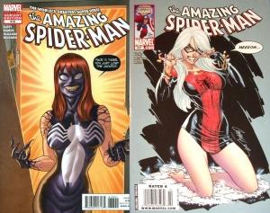 Left: retailer incentive variant of Amazing Spider-Man #678; Right: $3.99 cover price variant of Amazing Spider-Man #607.
