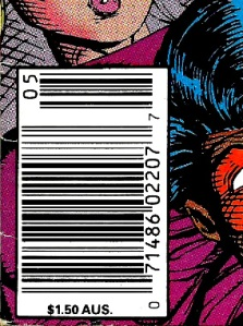 The UPC code box for type 1a price variant copies of New Mutants #98 also identify the comics as variants, with the $1.50 AUS price repeated along the bottom.