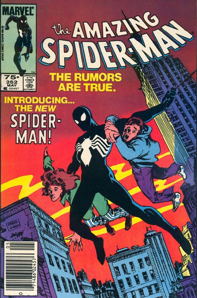 Amazing Spider-Man #252 (75 cent variant pictured) was a cover swipe of Amazing Fantasy #15, but with Spider-Man wearing the black costume.
