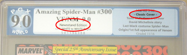 PGX also denotes Amazing Spider-Man #300 as a