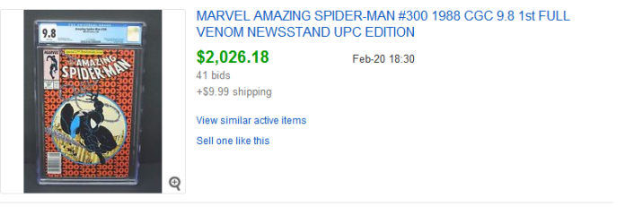 Update: newsstand value for Amazing Spider-Man #300 is widening even further away from the value of the prevalent direct edition. A couple of weeks ago when I put up this post, the high sale was $1,600 (a newsstand 9.8). This most recent sale, a newsstand 9.8, is up at $2,026.18.