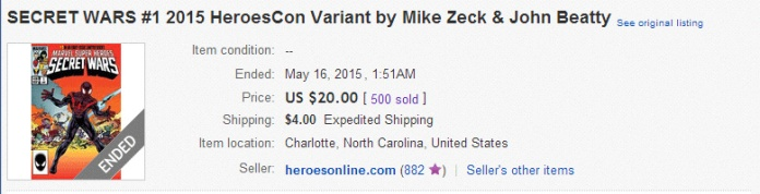 The actual price to buy one of these HeroesCon variants was $20, not the $4.99 price shown on its cover.