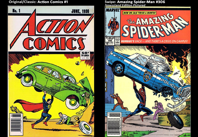 Action Comics #1; cover swipe: Amazing Spider-Man #306.