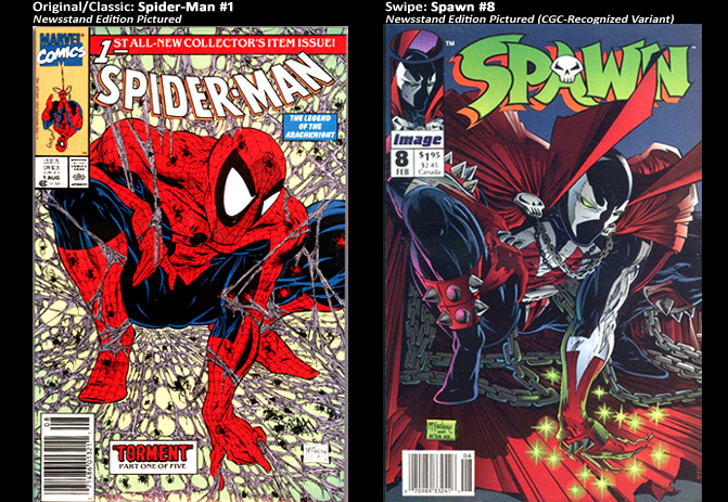 Spider-Man #1; cover swipe: Spawn #8.