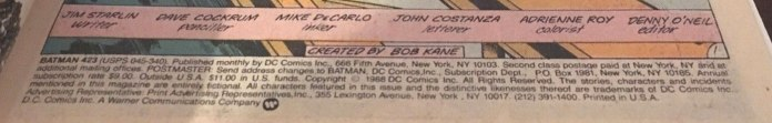 Batman #423 indicia page.
