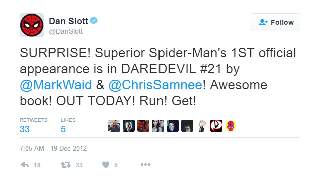 Dan Slott's December 2012 tweet, about Daredevil #21: