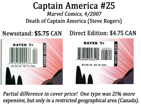 Newsstand copies of Captain America #25 had a 21% higher cover price in a restricted geographical subset of the broader North American market.