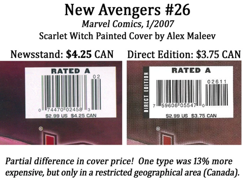 Newsstand copies of New Avengers #26 had a 13% higher cover price in a restricted geographical subset of the broader North American market.