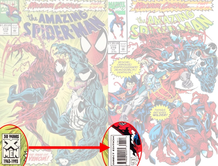 Amazing Spider-Man #378 direct editions were the last to be denoted by logos; at #379 the direct edition begins to carry a UPC code.