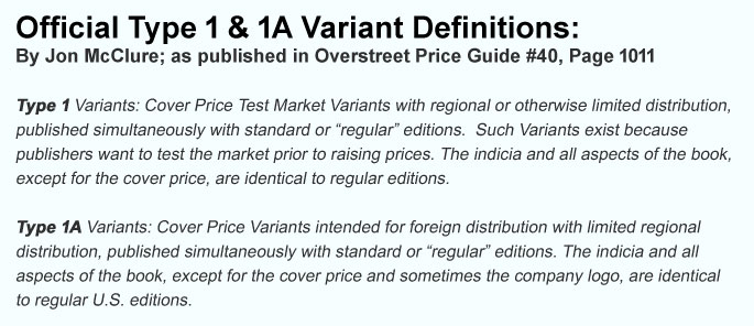 Official Type 1 & 1A Variant Definitions