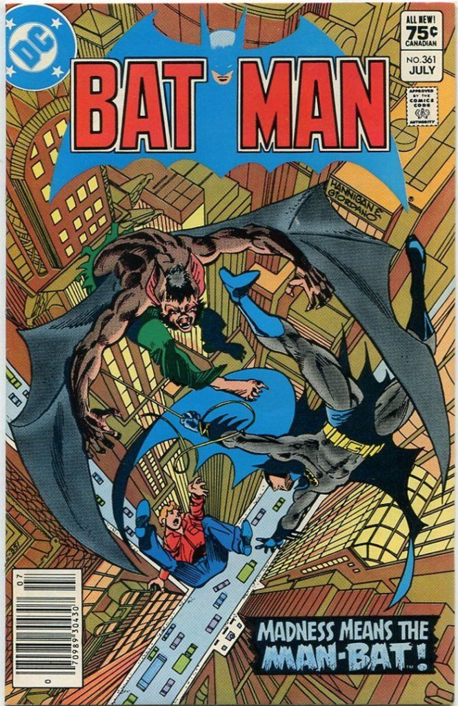 Batman #361, Type 1A 75 Cent Cover Price Variant