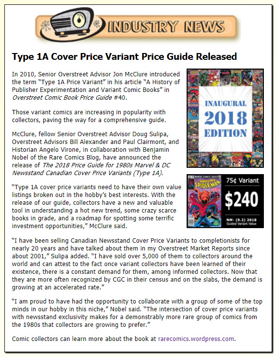 Scoop 11-24-2017:  Type 1A Cover Price Variant Guide Released