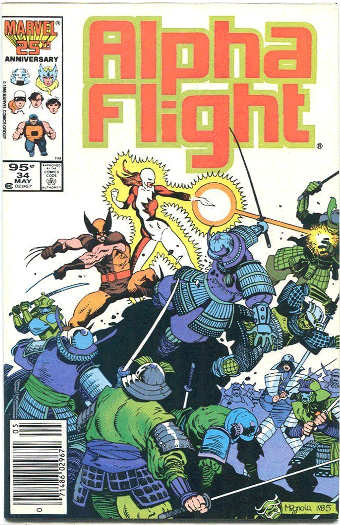 Alpha Flight #34, Type 1A 95¢ Cover Price Variant; Canadian Newsstand
