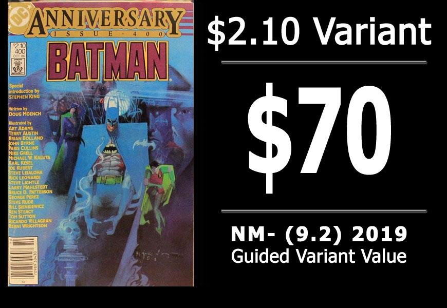 #42: Batman #400, 2019 NM- Variant Value = $70