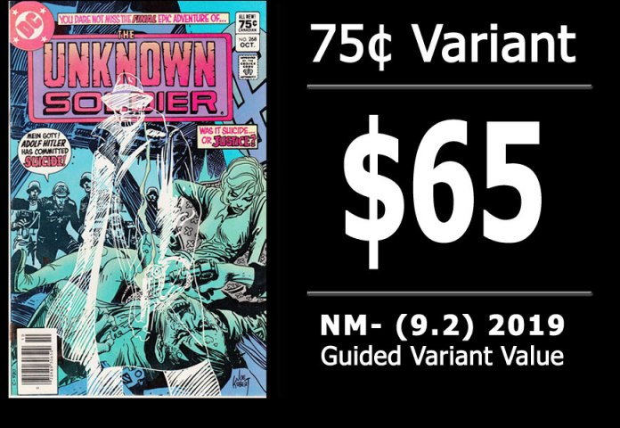 #50: Unknown Soldier #268, 2019 NM- Variant Value = $65