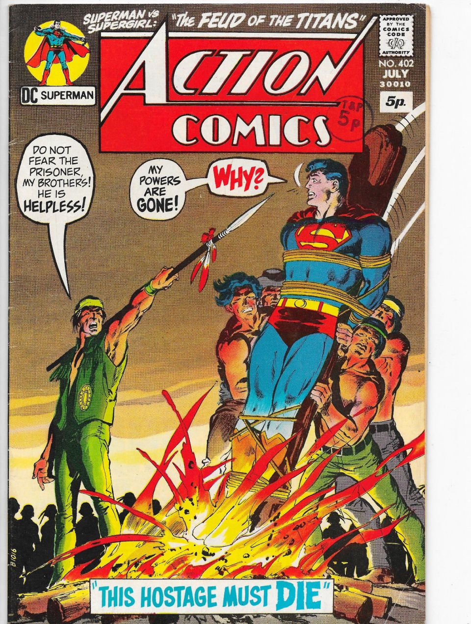 Action Comics #402, 5p Pence Price Variant