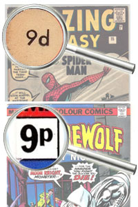 """Before decimalization, nine pence was written """"9d""""; after decimalization, nine pence was written """"9p""""."""
