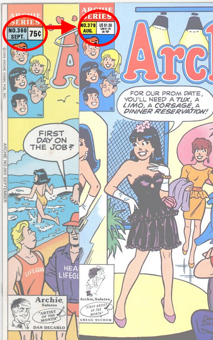 For the Archie title, we see early direct editions carry a single price. Eventually, US and CAN (and UK) prices appeared.