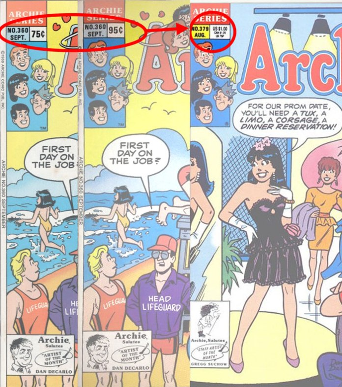 At Archie #360 we see two single-price direct edition types; by Archie #379 we have one direct edition type with multiple prices.