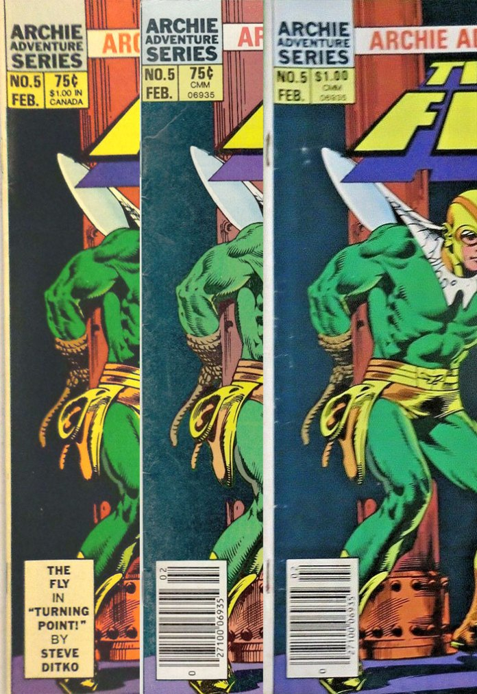 The Fly #5: Dual-price Direct Edition (left), single-price 75¢ newsstand (middle), and single-price Type 1A $1.00 newsstand (right)