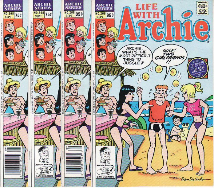 Four single-price types were published for Life With Archie #268: two newsstand and two direct edition.